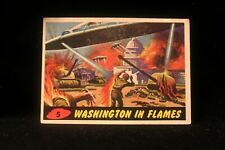 """Vintage 1962 Mars Attack Trading Card """"Washington In Flames"""" #5 VG EX"""