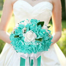 Wedding Bouquet Foam Flowers Rose Lace Bride Bridesmaid Girl Wand Decor K