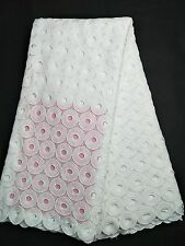 White Sewing African Cord Lace Guipure Fabric Nigerian Cotton Lace Wedding Dress