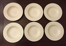 Villeroy & Boch 'White Pearl' Set of 6 Large Rimmed Soup Bowls Plates New