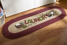 Laundry Clothes Wash Room Washer Dryer Braided Runner Rug Door Mat