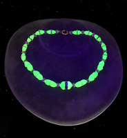 Antique Art Deco Uranium Vaseline Glass Bead Choker Necklace