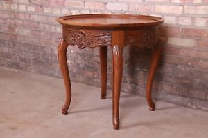 Baker Furniture French Provincial Louis XV Carved Oak Tea Table, Circa 1960s