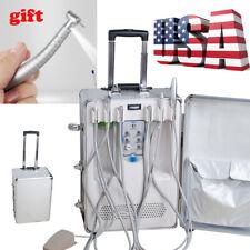 Dental Portable Delivery Unit Cart Suitcase Compressor Equipment + LED Handpiece