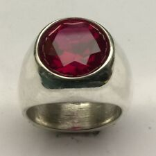 MJG STERLING SILVER MAN'S RING. 14MM LAB RUBY . SIZE 10 1/4