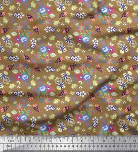 Soimoi Black Cotton Poplin Fabric Leaves|Insect & Floral Artistic-pBg