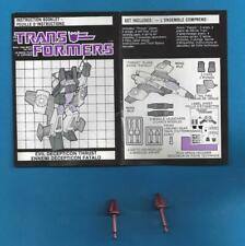 1985 Transformers G1 Decepticon Thrust Short Missiles Canadian Instruction