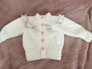 Hand Knitted Baby Girls White/Rainbow lace  Cardigan 0/6 Months