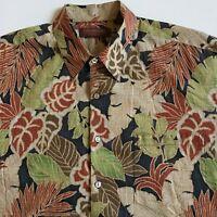 Tori Richard Men's L Beige Red Green Leafeon Hawaiian Aloha Shirt Cotton Lawn
