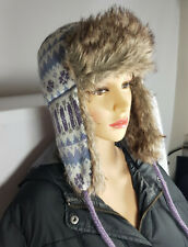 WOMEN MEN KNITTED FAUX FUR TRAPPER LINED SKI WINTER EAR FLAP HAT Nov13-7