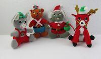 Lot of 4 Vintage Fun Farm 1979 Christmas Plush Stuffed Animals