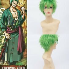 One Piece Roronoa Zoro Short Straight Green Unisex Cosplay Anime Costume Wig