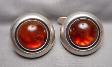 Signed Vintage Men's Cufflinks - N.E. FROM DENMARK - Sterling w/ Amber Cabochon