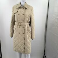 Faconnable Womens Quilted Rain Jacket Beige Water Resistant Belted Pockets L