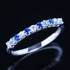 Wedding Band Natural Diamonds Aquamarine &Sapphires Gemstone Ring 14k White Gold
