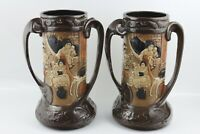 Bretby Ware c1908 Two Handle Large 2 Vases With Raised Oriental Style Decoration