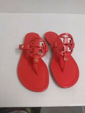 Tory Burch Woman's Slippers Miller Veg Nappa Poppy Coral Size 7.5 US