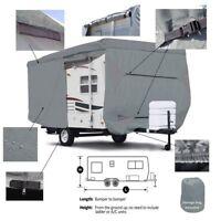 Seamander RV Cover Travel Trailer, 3-Ply Top Panel,Color Grey