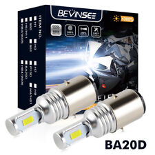 2x BA20D S2 H6 100W Moped Scooter CSP LED Headlight Bulbs White 3000LM For Vespa