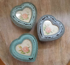 Heart Jewellery / Trinket Box Photo Frame Top Vintage Chic Style Shabby Paint