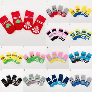 4Pcs Cute Pet Socks Dog Anti Slip Sock Hosiery Warm Puppy Dog Supplies Stockings