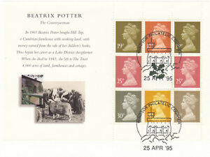 (83483) GB Used Beatrix Potter National Trust Booklet FULL Pane 1995 ON PIECE