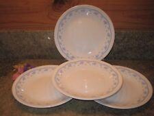 "Set of 4 Corelle Morning Blue Bread Dessert 6.75"" Plates Floral Trim Border EUC"