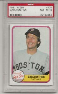 1981 FLEER #224 CARLTON FISK, PSA 8 NM-MT, HOF, BOSTON RED SOX,  L@@K !