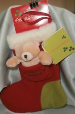FOREVER FRIENDS - 10cm  BEAR IN POCKET OF A RED CHRISTMAS STOCKING 27cm NEW