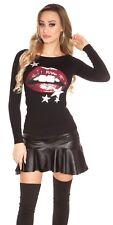 fashion pull noir avec bouche levre rouge sexy taille unique  34/36/38/40 femme