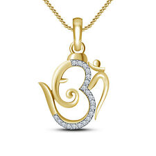 "Solid .925 Silver White CZ Ganpati ""OM"" Pendant W/ 18"" Chain In 14k Gold Plated"