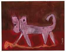 PINK PUSSY original abstract/folk/outsider? mixed m. painting J.Swinton Canadian