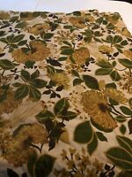 Vintage Barkcloth STYLE Fabric Mid Century Botanical Curtain Panel Weavers Corp