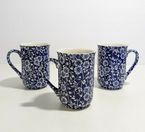 Churchill Staffordshire Set of 3 Mugs Calico Blue Floral Cup Victorian England