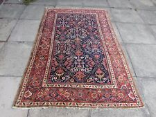 Antique Worn Traditional Hand Made Oriental Black Blue Red Wool Rug 206x131cm