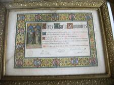 religion litho ordination de prêtre 1903 couleurs bois doré et vitre 58 x 44