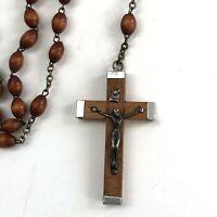 Vintage Missionhurst Five Decade Catholic Rosary Wooden Beads ITALY Crucifix