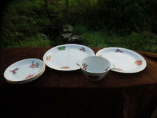 VINTAGE ALFRED MEAKIN - MIXED LOT -  PLATES - SAUCERS - BOWL - VEGETABLE PATTERN