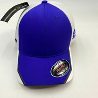 NWT Adidas TaylorMade Hat Men's S/M Blue White Flex Fit Mesh Crest Poly Blend