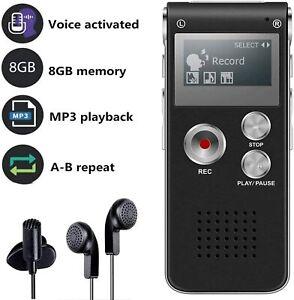 ✅ REGISTRATORE VOCALE AUDIO PORTATILE VOICE RECORDER DIGITAL 8GB MP3 SPY SPIA