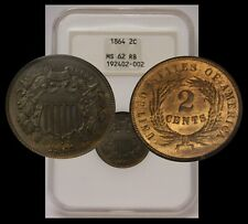 1864 Two Cent Large Motto NGC MS62 RB Old Holder Fatty Gen 4 ~CAC PQ BEAUTY!