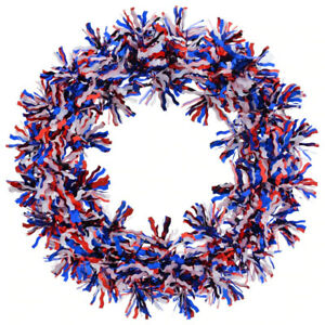 Red White & Blue Patriotic Tinsel Wreath 11.125 in.