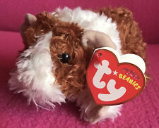 """Ty Beanies Reese Brown & Cream Curly Guinea Pig Soft Plush Toy 6"""" Tag 2007"""