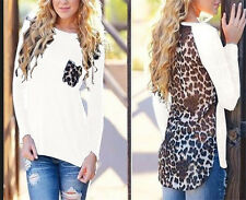 Plus Size Fashion Womens Leopard Blouse Top Long Sleeve Ladies Tops Tee T-shirt 16 White