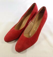 New Old Stock 1960s Womens DeLISO Red Suede Leather Pumps Heels 7.5 M Shoes