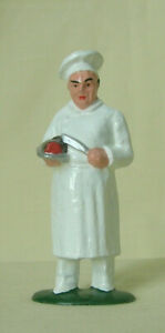 Chef in toque with roast, Standard Gauge train figurine, vintage reproduction