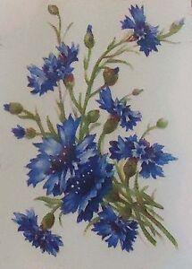 """Blue Cornflower Flower 4 pcs  3"""" X 2""""  Waterslide Ceramic Decals Tx"""