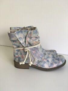 Rieker Pastel Floral Zip Ankle Boots  UK 3