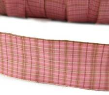 """5 Yds Pink Brown Tan Beige Plaid Wired Ribbon 1 1/2""""W"""