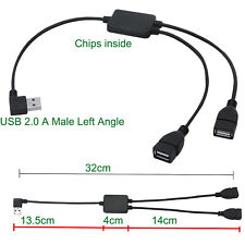 USB 2.0 A Male Left Angle to 2x Female Charger Data Splitter Extension Cable